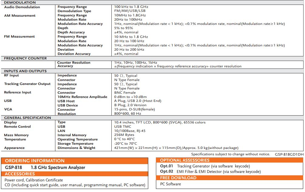 GW Instek GSP-818 Spectrum Analyzer | Terminal Elektronika Sekawan