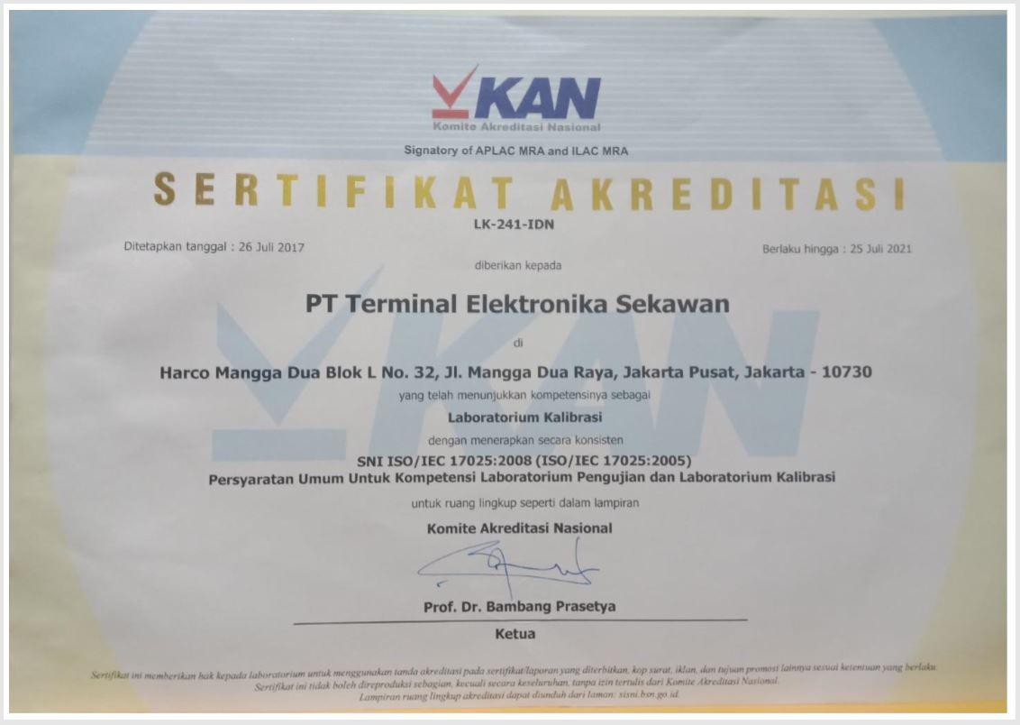 KAN Certified   Terminal Elektronika Sekawan